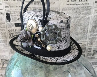 Steampunk Mini Top Hat Fascinator - Map Print with Feathers & Embellishments