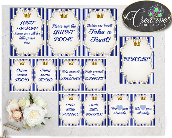 Royal baby shower table signs little prince decoration for A new little prince baby shower decoration kit