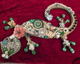 One of a Kind Jewel encrusted Gecho Wall Art.