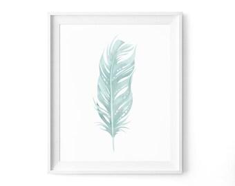 Mint Feather, Minimalist Feather Print, Feather Art, Mint Green Art, Nature Wall Art, Mint Green Feathers Art, Modern Art Printable