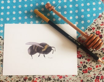 "Bumblebee Print - hand drawn 6"" x 4"" Home Decor Wall Art - Bee Insect Artwork postcard"
