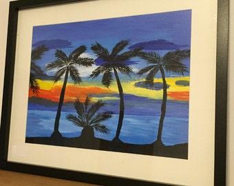 Tranqility. Original Acrylic Painting of a sunset, beach, shoreline