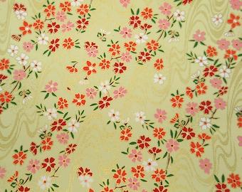 4 sheets A4 Yellow Red Sakura Yuzen Chiyogami Washi Origami Papers 232