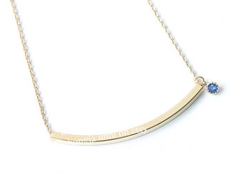 Curved Bar Necklace, Curved Necklace, Curved Bar, Birthstone Necklace, Birthstone Necklace