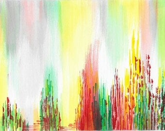 Original abstract watercolor painting-Color theme: yellow, green and red (#10)