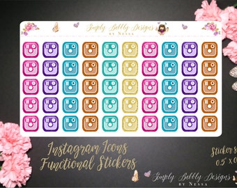 Glitter Instagram Icons - 50 individual Functional Planner Stickers