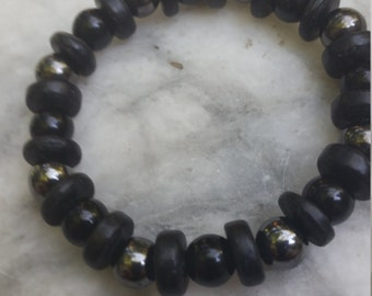 black bracelet, goth, beaded, black, gunmetal