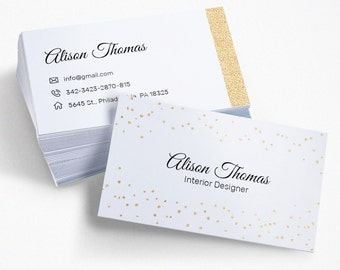 Interior Designer Business Card, Elegant Golden Calling Card, Beautiful PSD Template, Gold and White, Designer Business Card