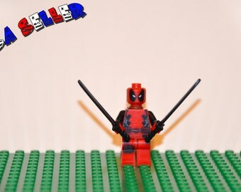 Deadpool Custom minifigure (Lego Compatible) Marvel Comics Superhero Wade Wilson Anti Villain The Red Brick Guy X-Force X-Men Christmas