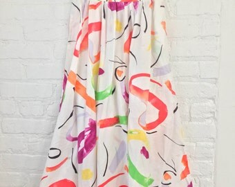vintage 90's bright WATERCOLOR brush strokes white maxi skirt pockets swirls size large