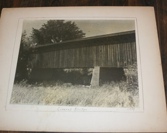 1939 Matted Photograph - Covered Bridge