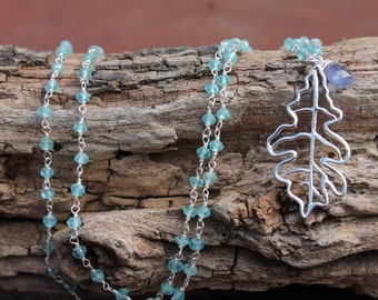 Sterling Silver and Apatite necklace with Tanzanite