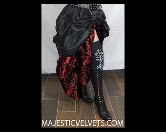 Ready to ship 2 SKIRTS. Double Bustle DAMASK DARK Colors.  Steampunk Victorian Taffeta Skirt Costume for Cosplay