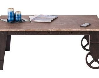 Coffee Table Industrial Vintage Rustic Wooden on Wheels