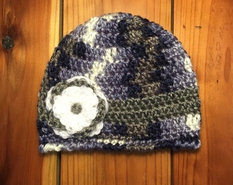 Baby Girl Infant 0-3 Months gray grey blue purple camouflage beanie hat with flower