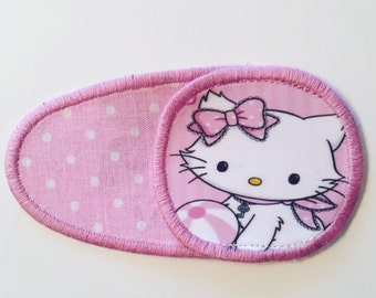 Eye patches with Hello Kitty. Patch for treatment of amblyopia, lazy eye, strabismus. Occlusion. Opticlude. Operclude