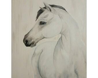 "White Horse 'Howlite Horse' 16x20"" original oil painting"