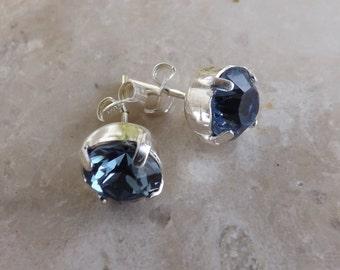 "Swarovski Crystal 925 Silver earrings and ""Denim blue"""