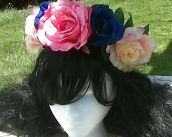 Pink, blush pink and blue flower crown