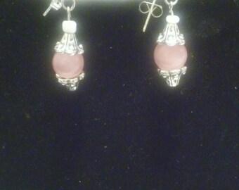Pink cat's eye beaded earrings