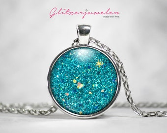 "GLITZERKETTE ""AQUA"" (Cabochon)"
