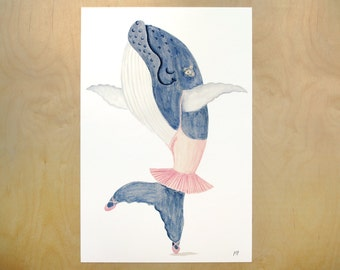 11x17 dancing whale art print