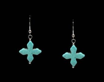 Turquoise Cross Dangle Handmade Earrings