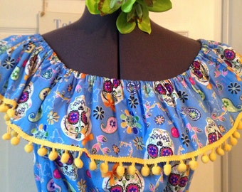 Baby blue sugarskull rockabilly gypsy