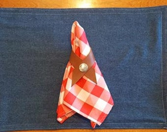 Rustic Country Placemat, leather Napkin Ring, and checkered napkin 6 piece sets