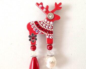 Red Cathrine Deer Brooch With Swarowski Crystals