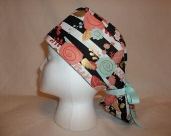 Ponytail scrub hat cap-scrub cap trendy floral aqua cuffed surgery cap- scrubsNstitches