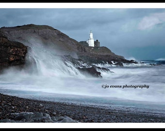 Rough seas at Mumbles Lighthouse