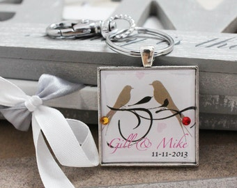 Personalised Loving Couple Birdie Keyring with Swarovski Birthstone
