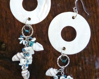 Mother of Pearl Sterling Silver Earrings with Sea Shells Handmade One of a Kind