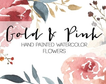 Gold & Pink Watercolor Flowers