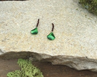 Green and Brown Drop Earrings