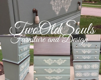 5 Drawer Tallboy Dresser in Duck Egg with Stencil Detail