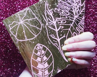 gold leaf hand screenprinted/foiled and bound journal