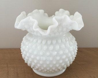 Scalloped Hobnail Milk Glass Vase