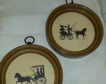 Pair of Horse and Buggy Silhouette Prints