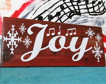 "Stocking Stuffer, Rustic wood sign says, ""JOY"" with Snowflakes & Musical Notes, Christmas Collection, Festive Holiday Sign, Great Gift!!!"