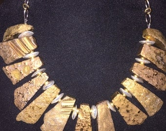 Gold Statement Necklace with Bali Silver