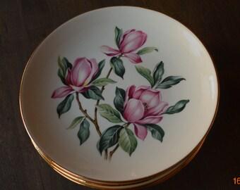 Set of Six Magnolia Flower Salad/Dessert Plates