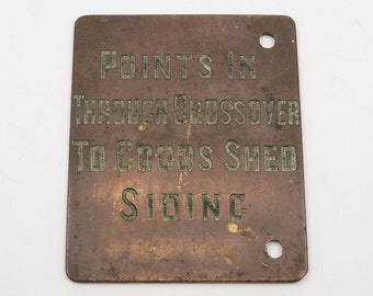 Victorian Brass Railway Signal Box Plaque (ID 48170)