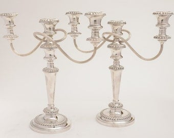 Pair of Metamorphic Silver Plated Candelabras, Circa 1920