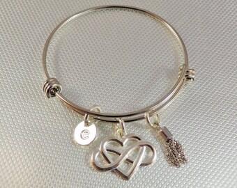 Infinity heart bangle, wedding bracelet, Silver Tone bangle, bridesmaid bracelet,  initial charm, Lauries Bangles, Stainless Bangle