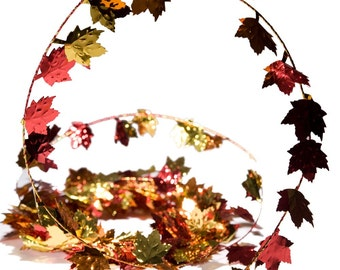 25 Feet of Maple Leaf Autumn Fall Metallic Foil Wedding Party Thanksgiving Wired Garland