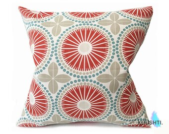 LARGE Cushion Cover- 60cm- Retro Cushion- Coral Red- Scandinavian Cushion- Scandi Style- Modern Cushion- Blue and Red- Red and White