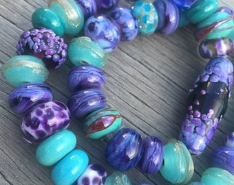 Lampwork Glass Beads, Turquoise Glass Beads, Violet Glass Beads, Handmade Glass Beads, Italian Glass Beads, OOAK Beads, Lampwork Glass Set