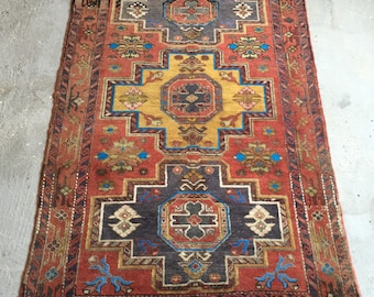 4'9''x7' Caucasian Carpet , Handknotted antique 1920's Rug , Collectible Rare Shirvan Carpet